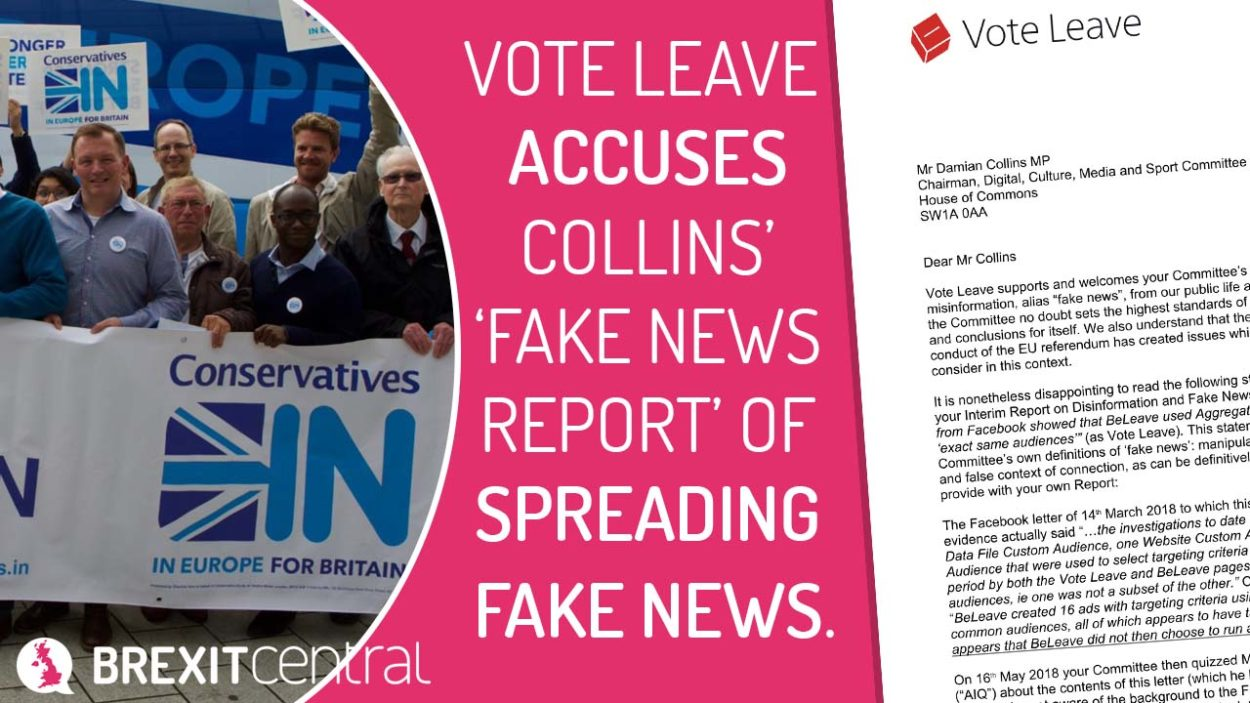 Vote Leave's letter to Fake News Chair Damian Collins