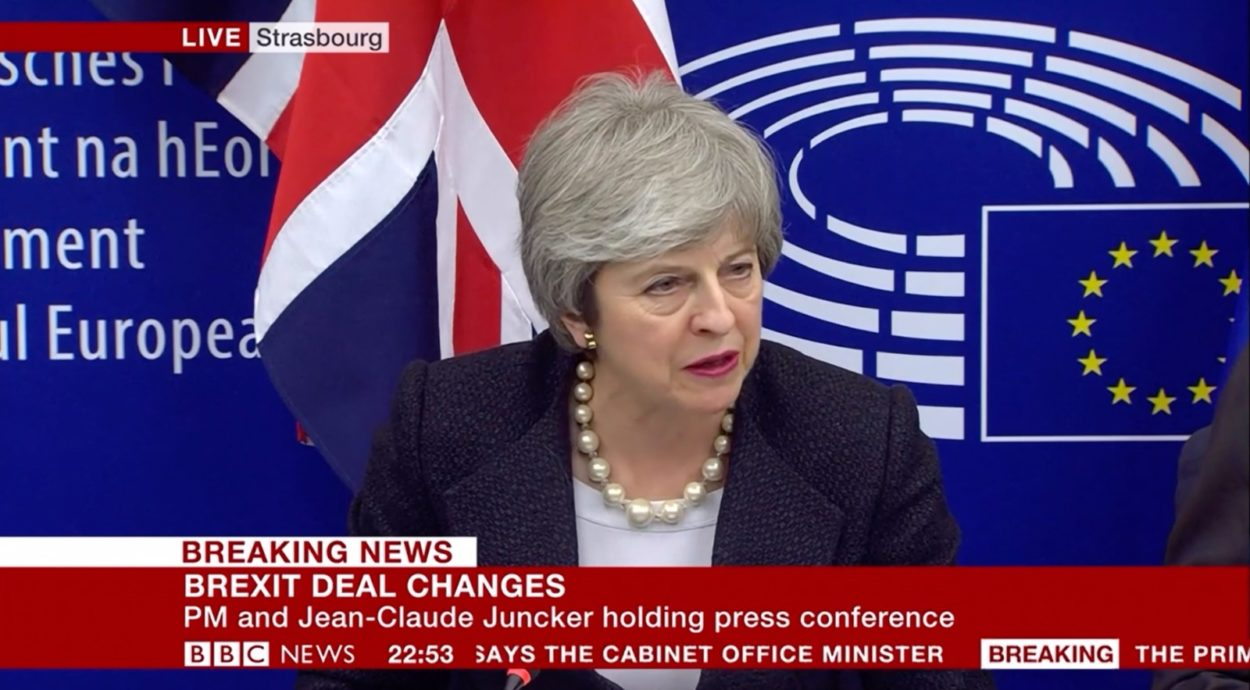 "Theresa May's Strasbourg statement announcing ""legally-binding changes"" to the backstop"
