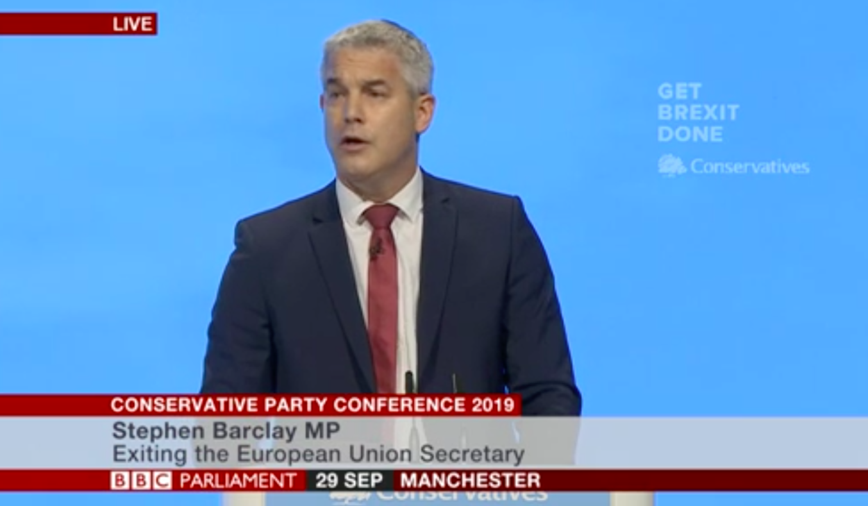 Brexit Secretary Stephen Barclay addresses Tory Party conference: end delay to unlock Brexit opportunities